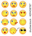 vector emotional face icons.... | Shutterstock .eps vector #409458787