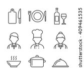 restaurant icons set.  kitchen... | Shutterstock .eps vector #409461535