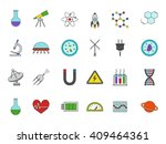 set of 24 science colorful... | Shutterstock .eps vector #409464361