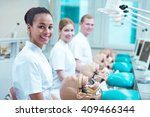 Three young happy future dentistry doctors on classes at school