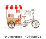 hot dogs on bicycle  vector... | Shutterstock .eps vector #409468921