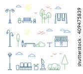 vector linear landscape design... | Shutterstock .eps vector #409475839