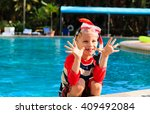 happy little boy having fun at... | Shutterstock . vector #409492084