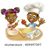 cartoon boy and girl kids... | Shutterstock . vector #409497397