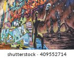 beautiful street art of...   Shutterstock . vector #409552714