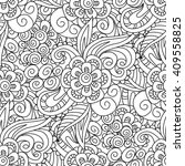 seamless black and white floral ... | Shutterstock .eps vector #409558825