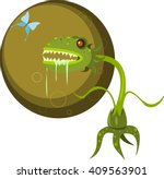 Monster Carnivorous plants eat insects. Vector.