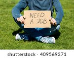 unemployed young man with... | Shutterstock . vector #409569271