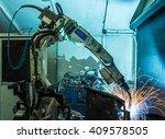 welding robots represent the... | Shutterstock . vector #409578505