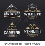 Set of vintage camping, outdoor adventure emblems. Vector retro labels. Logo design templates.  | Shutterstock vector #409579309