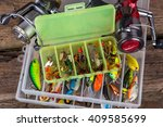 fishing tackles and fishing... | Shutterstock . vector #409585699