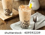 Stock photo homemade milk bubble tea with tapioca pearls 409592239