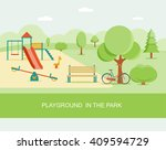 flat style  playground in park. ... | Shutterstock .eps vector #409594729