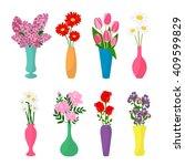 flowers in vases. flower pots... | Shutterstock .eps vector #409599829