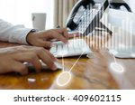 close up man working with... | Shutterstock . vector #409602115
