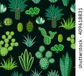 seamless pattern of cacti and... | Shutterstock .eps vector #409618831