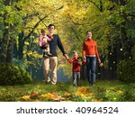 walking family with two... | Shutterstock . vector #40964524