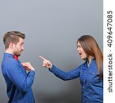 Small photo of She accusing him - Couple fighting series