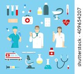 flat medicine elements or icon... | Shutterstock .eps vector #409654207