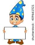 boy wizard in blue   Shutterstock .eps vector #409661521