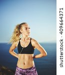 athletic young woman exercising ... | Shutterstock . vector #409664371