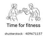 fitness couple and fitness club ... | Shutterstock . vector #409671157