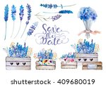 Set Of Watercolor Bouquets Of...