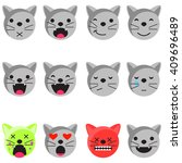 Cat Smile Emoji Set. Emoticon...
