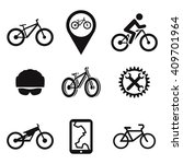 set of isolated black icons... | Shutterstock .eps vector #409701964