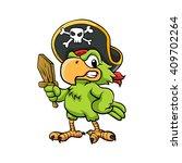 pirate parrot cartoon... | Shutterstock .eps vector #409702264