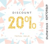 discount 20.  price tag golden. ... | Shutterstock .eps vector #409709869