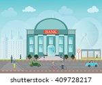bank building exterior in city... | Shutterstock .eps vector #409728217