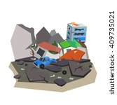 the earthquake destroyed the... | Shutterstock .eps vector #409735021