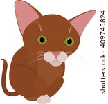funny brown cat with big green... | Shutterstock .eps vector #409745824