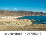 scenic volcanic coastline on... | Shutterstock . vector #409755247