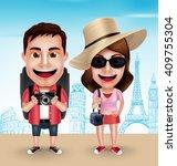 tourist traveler couple vector...   Shutterstock .eps vector #409755304