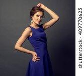 beauty model girl with elegant... | Shutterstock . vector #409770625