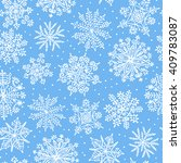 hand drawn snowflakes. seamless ... | Shutterstock . vector #409783087