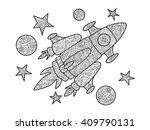 cartoon spaceship coloring book ...   Shutterstock .eps vector #409790131