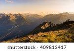 last soft sunlight over rocky... | Shutterstock . vector #409813417
