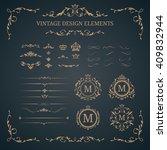 vintage set of decorative...   Shutterstock . vector #409832944