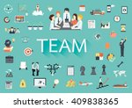 the word team with long shadow... | Shutterstock .eps vector #409838365