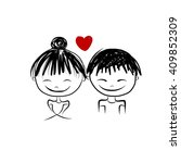couple in love together ... | Shutterstock .eps vector #409852309
