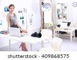 attractive businesswoman... | Shutterstock . vector #409868575