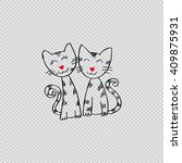 two cats . doodle style.  | Shutterstock .eps vector #409875931