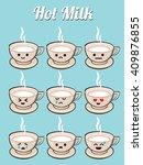 hot milk cartoon character with ... | Shutterstock .eps vector #409876855
