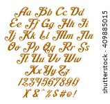 3d gold alphabets with digit... | Shutterstock . vector #409885015