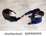 elevated view of business man... | Shutterstock . vector #409909099