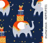 cute little elephant  blue and... | Shutterstock . vector #409919551