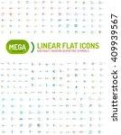 thin line abstract logo mega... | Shutterstock .eps vector #409939567